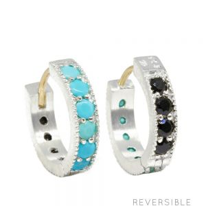 Gemma 15mm Turquoise & Black Spinel Silver Reversible Huggies