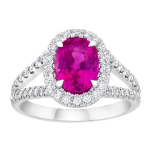 2.47ct Oval Pink Sapphire and Diamond Ring