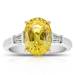 4.95ct Oval Yellow Sapphire Diamond Ring