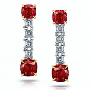 2.01 Carat Ruby and Diamond Drop Earrings