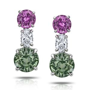 3.13ct Green and Pink Round Sapphire and Diamond Earrings