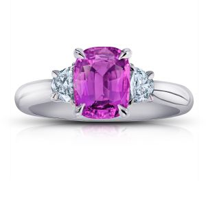 2.22ct Cushion Pink Sapphire and Diamond Ring