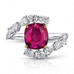3.36ct Cushion Ruby and Diamond Bypass Ring