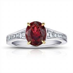 2.00 Carat Oval Red Spinel and Diamond Ring