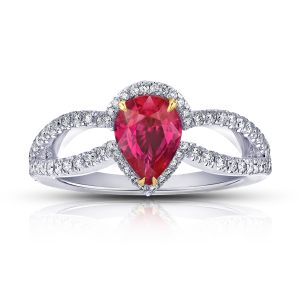 1.42ct Pear Shape Ruby and Diamond Platinum Ring