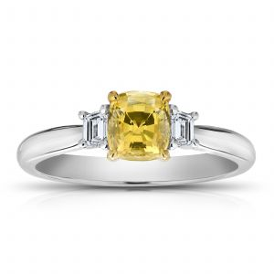 1.11ct Cushion Yellow Sapphire and Diamond Ring