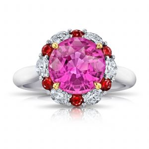 4.04 carat Round Pink Sapphire Ruby and Diamond Ring