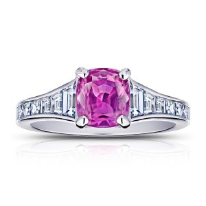 1.38 Carat Cushion Pink Sapphire and Diamond Ring