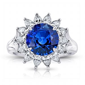 3.40ct Princess Blue Sapphire and Diamond Ring