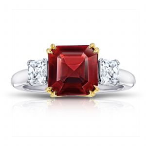 4.09ct Asscher Cut Red Spinel and Diamond Ring
