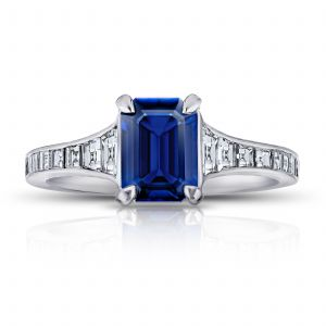 1.41ct Emerald Cut Blue Sapphire and Diamond Ring