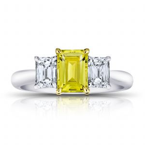 1.37ct Emerald Cut Yellow Sapphire and Diamond Ring