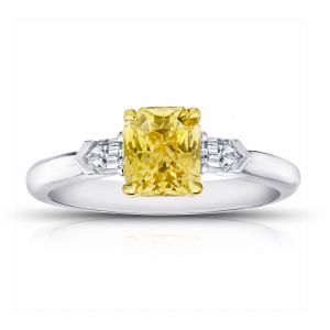 1.64ct Radiant Cut Yellow Sapphire and Diamond Ring