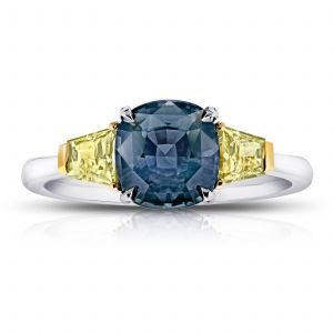 2.44ct Cushion Blue Green Sapphire and Diamond Ring