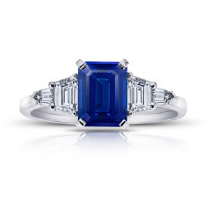 2.25ct Emerald Cut Blue Sapphire and Diamond Ring