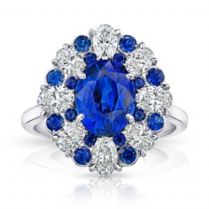 3.11ct Oval Blue Sapphire and Diamond Ring