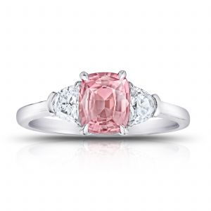 1.29ct Cushion Padparadscha Sapphire and Diamond Ring