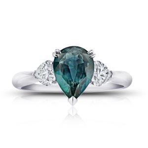 2.43 Carat Pear Shape Bluish Green Sapphire and Diamond Ring