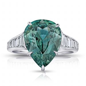 7.57ct Pear Shape Green Sapphire and Diamond Ring