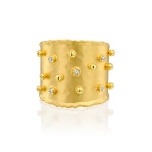 Gold Dot & Diamonds Band Ring