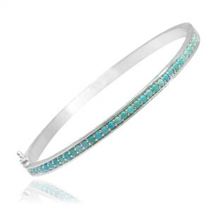 Vortex Turquoise Silver Bangle