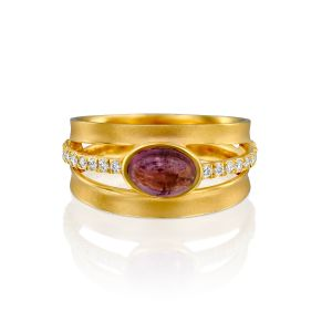 Oval Shape Pink Tourmaline Ring With Diamonds