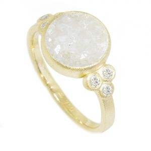 Chloe White Druzy Gold 18k Ring