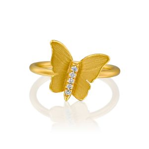 Hand Carved Butterfly Diamond Ring