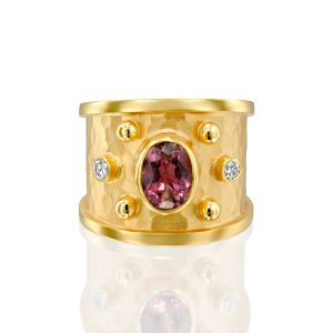 Pink Tourmaline & Diamond Cigar Band Rin
