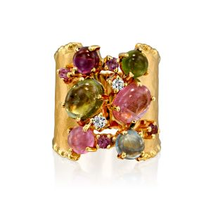 Handmade Multi Color Tourmaline & Sapphires Ring