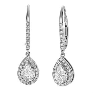 14K Pear Composite Halo Lever Back Earrings, 1cttw