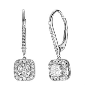14K Cushion Composite Halo Lever Back Earrings, 1cttw