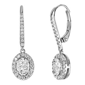14K Oval Composite Halo Lever Back Earrings, 1cttw