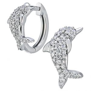 Oceanity Pave Dolphin Huggie Earrings