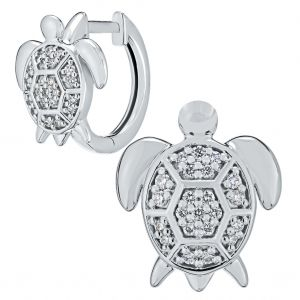 Oceanity Pave Turtle Huggie Earrings