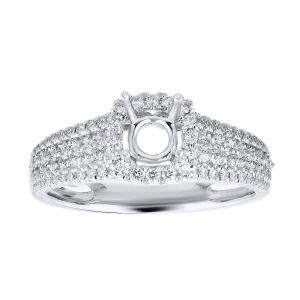 Cushion Halo Wide Pave Ring Setting