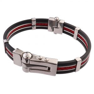 LANCELLO® Stainless Steel, Rubber, Leather Bracelet, 8""