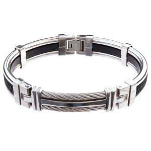 LANCELLO® Stainless Steel Cable & Rubber Bracelet, 8""