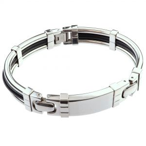 LANCELLO® Stainless Steel & Rubber Bracelet, 8""