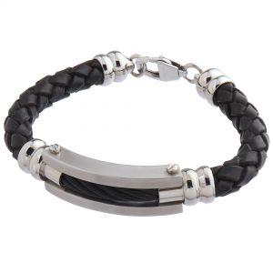 LANCELLO® Stainless Steel & Leather Bracelet, 8""