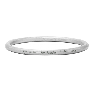 "Angela Mantra Large Bangle ""I AM LOVE I AM LIGHT I AM PEACE"""