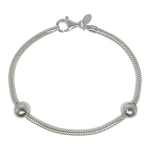 Sterling Silver ZABLE® Snake Bracelet/Anklet with Smart Beads