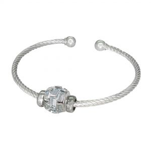 Sterling Silver ZABLE® Cable Bangle with Crystal Bead