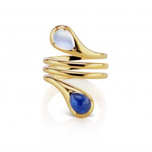 Drop Sapphire and Moonstone Twist Ring