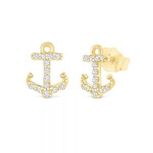 14K Gold and Diamond Anchor Earrings