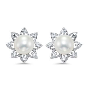 Sterling Silver CZ Pearl Flower Earrings