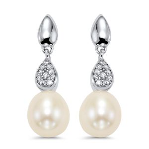 Sterling Silver Three Tiered CZ Pearl Drop Earrings