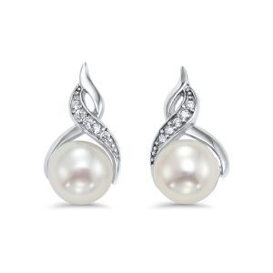 Sterling Silver Twisted CZ Pearl Earrings