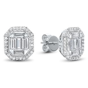 14K Round + Baguette Diamond Mosaic Stud Earrings