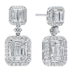 14K Round + Baguette Diamond Mosaic Dangle Earrings